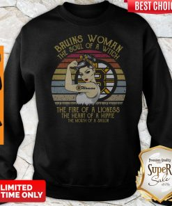 Bruins Woman The Soul Of A Witch The Fire Of A Lioness Vintage Sweatshirt