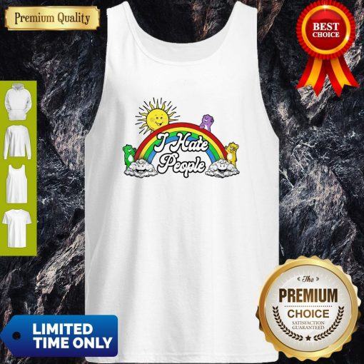 Awesome Sun And Rainbow I Hate People Tank Top