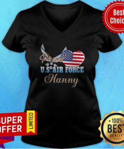 Nice American Flag Independence Day Proud U.S.Air Force Nanny Heart V-neck