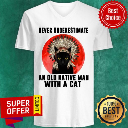 Official Native Never Underestimate An Old Man With A Cat Vintage V-neck