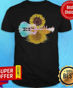 Top The Beatles Guitar Sunflowers Water Reflection Shirt