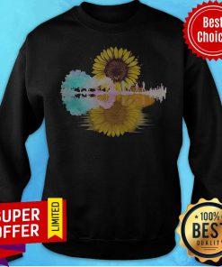 Top The Beatles Guitar Sunflowers Water Reflection Sweatshirt