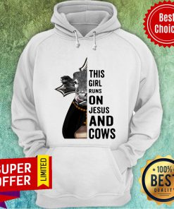 Awesome Pretty This Girl Runs On Jesus And Cows Hoodie