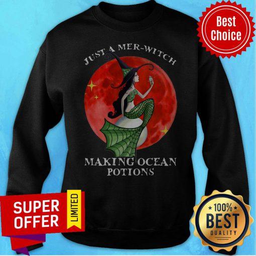 Mermaid Just A Mer Witch Making Ocean Potions Halloween Sweatshirt