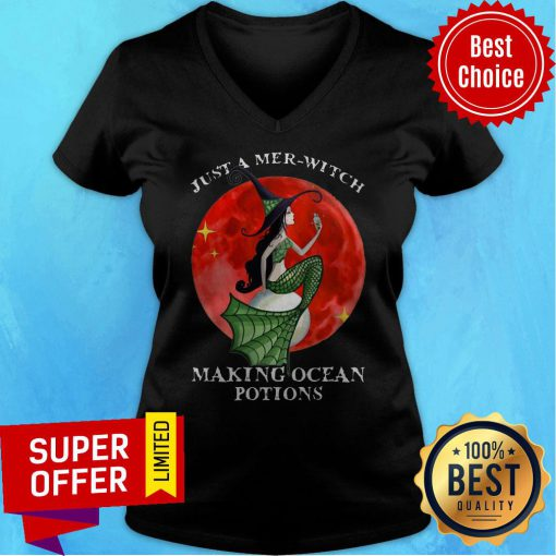 Mermaid Just A Mer Witch Making Ocean Potions Halloween V-neck