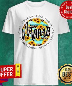 Teal Sunflower Leopard Stripe Mama Tee Protector Friend Teacher Forgiver Chauffeur Maid Counselor Loving Shirt