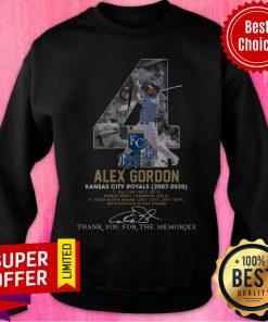 Kansas City Royals 4 Alex Gordon Thank You For The Memories Signature Sweatshirt