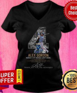 Kansas City Royals 4 Alex Gordon Thank You For The Memories Signature V-neck