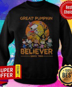 Nice The Peanuts Snoopy Great Pumpkin Believer Since 1966 Sweatshirt
