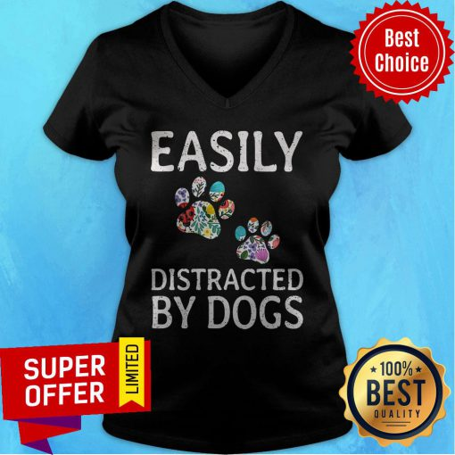 Premium Easily Distracted By Dogs V-neck