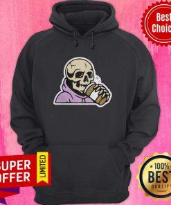 Premium Happy Halloween Coffee Drinking Skeleton Hoodie