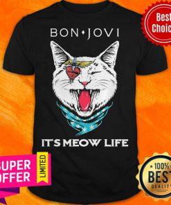 Premium Cat Bon Jovi It'S Meow Life Shirt