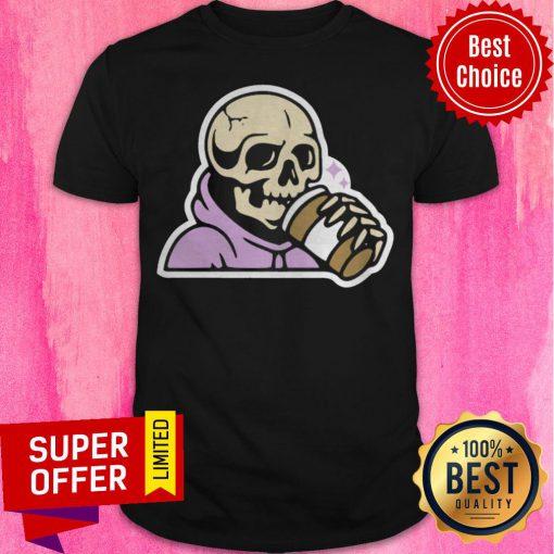 Premium Happy Halloween Coffee Drinking Skeleton Shirt