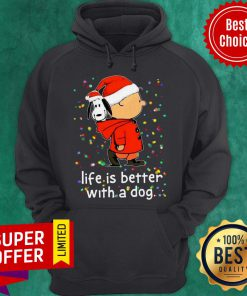 Snoopy And Charlie Life Is Better With A Dog Christmas Hoodie