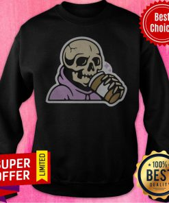 Premium Happy Halloween Coffee Drinking Skeleton Sweatshirt