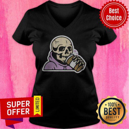 Premium Happy Halloween Coffee Drinking Skeleton V-neck