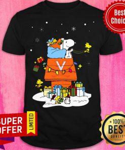 Funny Virginia Cavaliers Santa Snoopy Wish You A Merry Christmas Shirt