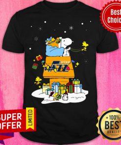Nice Utah Jazz Santa Snoopy Wish You A Merry Christmas Shirt