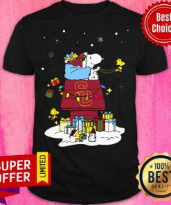 Premium USC Trojans Santa Snoopy Wish You A Merry Christmas Shirt