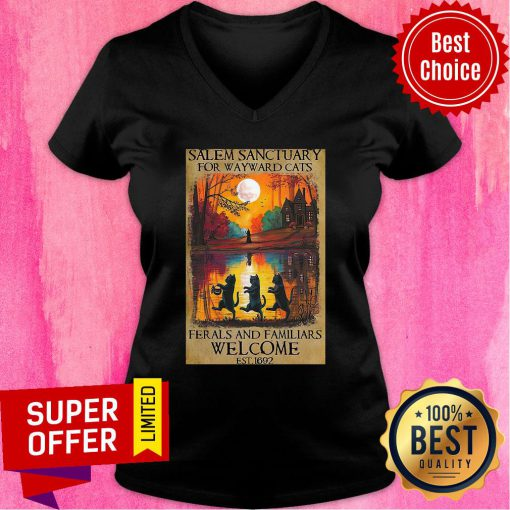 Salem Sanctuary For Wayward Cats Ferals And Familiars Welcome Est 1692 V-neck