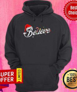 Top Believe Santa Hat Elf Rudolph Candy Merry Christmas Hoodie