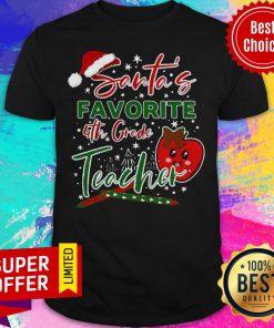 Top Santa's Favorite 4th Grade Teacher Christmas Shirt