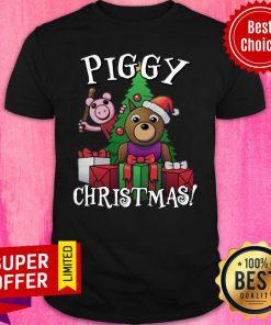 Awesome Bear And Pig Piggy Christmas Shirt