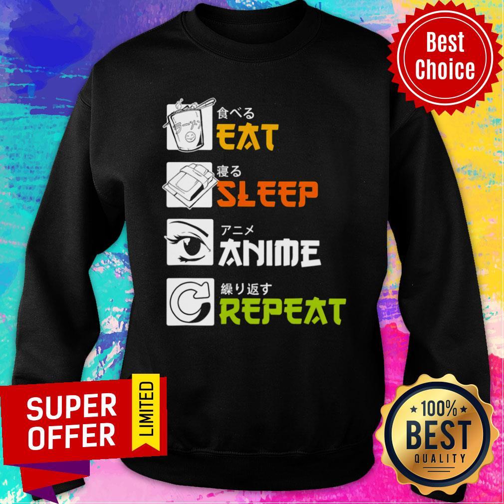 Awesome Eat Sleep Anime Repeat Vintage Sweatshirt