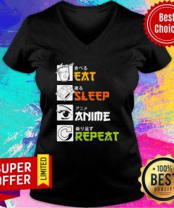 Awesome Eat Sleep Anime Repeat Vintage V-neck