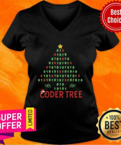 Coder Tree Christmas Tree Programmer Coder Xmas V-neck