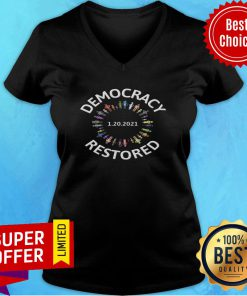 Nice Democracy Restored Biden Harris Inauguration V-neck