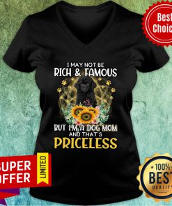 Poodle I May Not Be Rich & Famous But I'm A Dog Mom And That's Priceless V-neck
