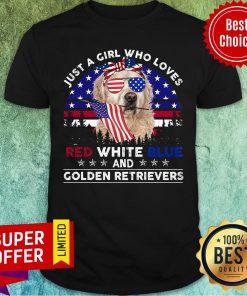 Loves Red White Blue And Golden Retrievers Shirt