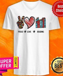 Premium Peace Love Reading Book V-neck