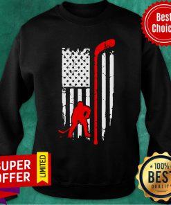 Hockey American Flag Hockey Stick Sweatshirt