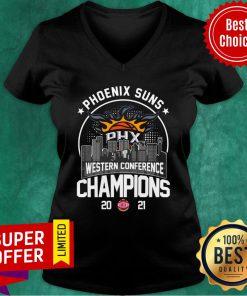 Phoenix Suns Western Conference Champions 2021 Baseball PHX V-neck