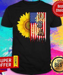 Sunflower USA American Flag 4th Of July Shirt