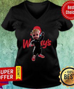 Baby Groot Wendy's Logo Halloween V-neck
