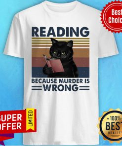 Black Cat Read Books Reading Because Murder Is Wrong Vintage Retro Shirt