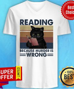 Black Cat Read Books Reading Because Murder Is Wrong Vintage Retro V-neck