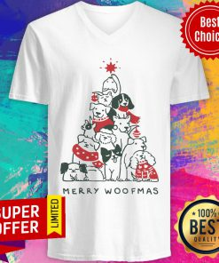 Dogs Tree Merry Woofmas V-neck