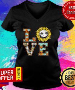 Love Sunflower Jack Skellington Flower V-neck