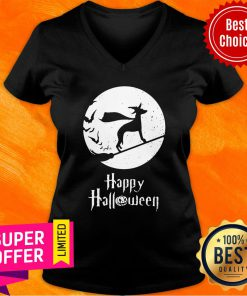 Top Halloween Witch Whippet Dog Lover V-neck